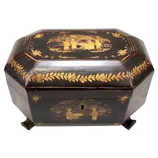 19th Century Chinese Export Lacquered and Gilt Tea Caddy