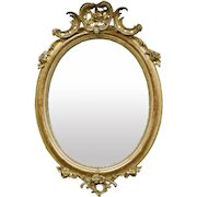 19th Century French Gilt Wood Oval Crested Wall Mirror