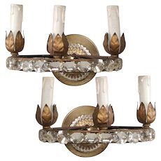 French Three Light Oval Crystal Beads Sconces - Pair