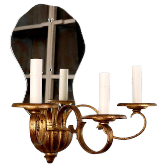 French Three Candle Giltwood Mirrored Wall Sconce