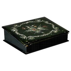 19th Century English Papier Mache Box with Mother of Pearl Inlay