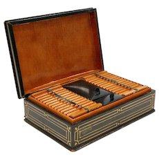 1930's Green Leather Cigarette & Cigar Humidor Tobacco Box