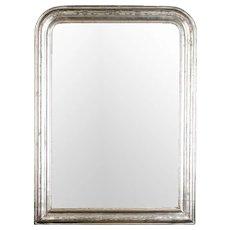 19th Century Louis Philippe Silver Leaf Wall Mirror