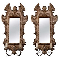 Pair 19th Century Painted and Gilded Italian Wall Sconces