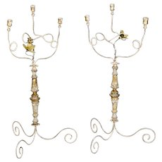 19th Century Pair Tall Gilt Wood and Scrolled Iron Three-Light Italian Candelabra