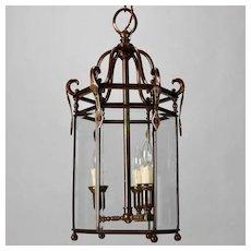 Tall 19th Century Dutch Hexagonal Bronze and Glass Hall Lantern