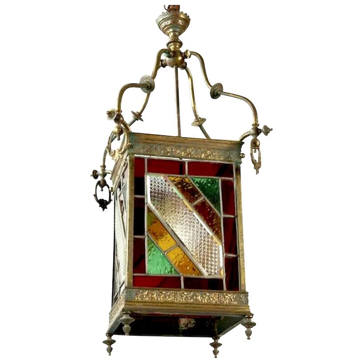 Victorian brass and stained leaded glass hanging hall lantern c 1890