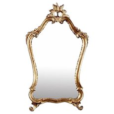 Italian Giltwood Mirror with Sunburst Crown