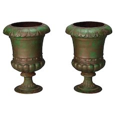 Pair 19th Century French Green Cast Iron Urns