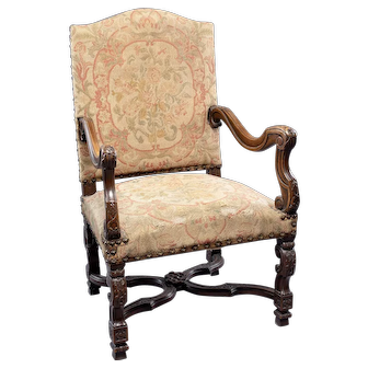 19th Century Louis XIV Armchair With Original Tapestry Upholstery