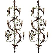 Pair of French Tall Six-Light Green and Gilt Tole Sconces