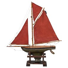 English Wooden Pond Boat with Three Red Sails