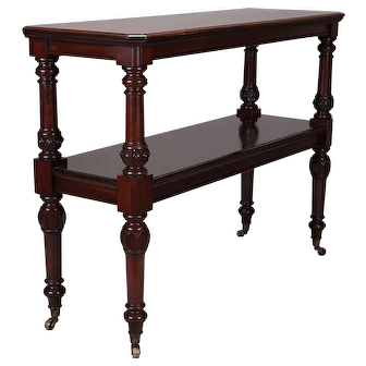 19th Century Scottish Mahogany Large Butlers Trolley on Casters, c.1840
