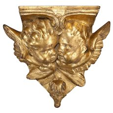 Antique Italian Gilded Plaster Corbel with Cherubs