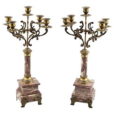 French 19th Century Pair Brass and Marble Candelabra Candlesticks