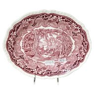 "Mason's Vista Pink Red Transferware 10.75"" Oval Serving Bowl - Patent Ironstone China"