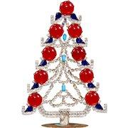 Czech Rhinestone Jeweled Table Top Stand Up Christmas Tree