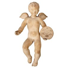 Signed European Terra Cotta Cherub Puti Sculpture