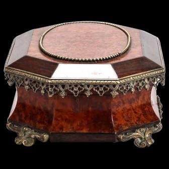 19th Century Rosewood Burr Walnut Box With Ormolu Mounts