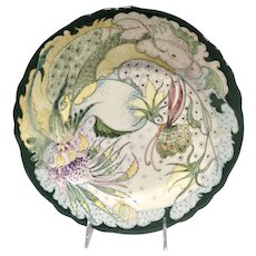 GeWi Dutch Art Pottery, Jugendstil Hand-Painted Gouda Holland Platter