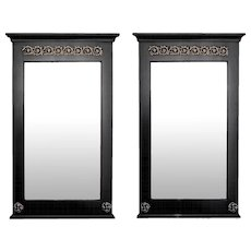 Pair Empire Style Ebonized Pier Mirrors With Brass Mounts