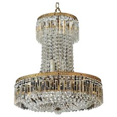 Swedish Late 19th Century Tall All Crystal 10-Light Chandelier