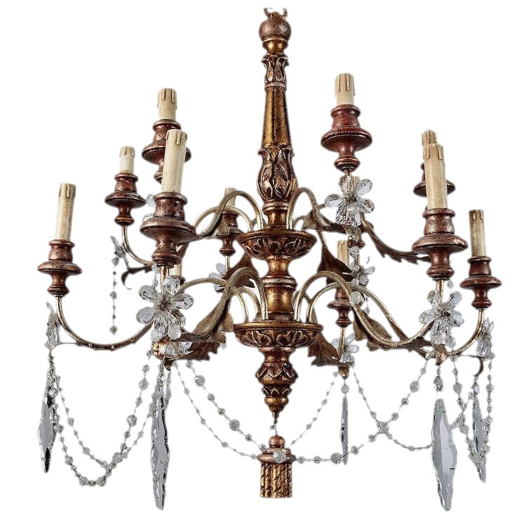 19th century french twelve light gilt wood and crystal chandelier