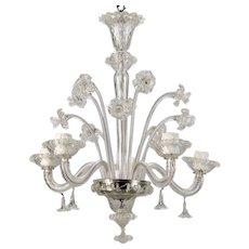 Venetian Five Light Clear Glass Daffodil Chandelier
