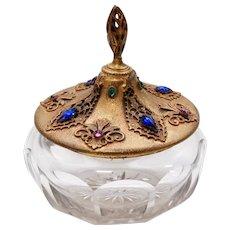 "1920's Ormolu Filigree and Jeweled Powder Jar ""E & J B Empire Art Gold"""