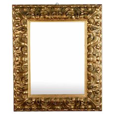 19th Century Hand-Carved Italian Giltwood Mirror