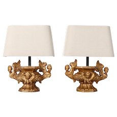 Pair of Gilded Wood Lamps Made from Architectural Balustrades with Angels