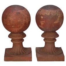 Large Round Terra Cotta Finial on Pedestal