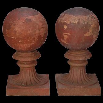 Large Round Terra Cotta Finial on Pedestal