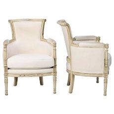 Pair Louis XVI Style White Painted Bergeres