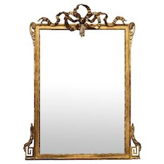 French Louis Philippe Giltwood Wall Mirror with Ribbon Crown