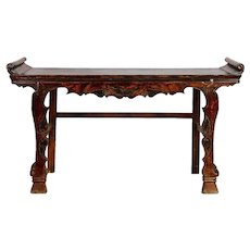 Chinese Carved Elm and Pine Altar Table with Original Red Paint