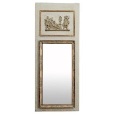 19th Century French Beige and Gilded Trumeau Mirror