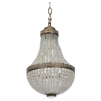 French Empire Cast Bronze and Crystal Chandelier