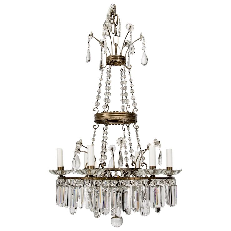 French twelve light empire style crystal chandelier