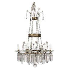 French Twelve-Light Empire Style Crystal Chandelier