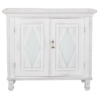 Swedish Two-Door Cabinet with Fluted Diamond Front