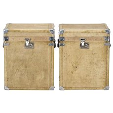 Pair of Reconditioned English Vellum and Chrome Trunks