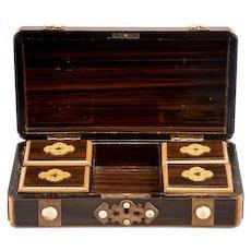 French Inlaid Mahogany Game Box with White Stones