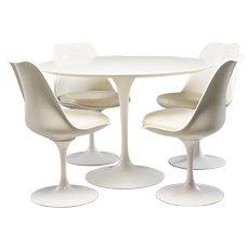Knoll Saarinen White Laminate Tulip Table and Four Tulip Swivel Chairs