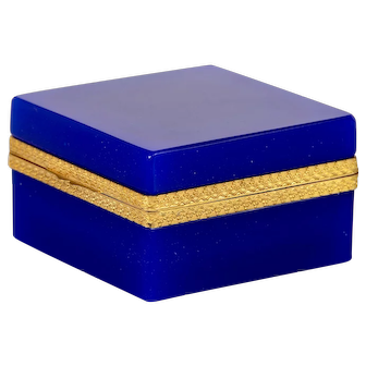 French Royal Blue Opaline Glass and Brass Hinged Box