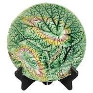 Antique English Begonia Leaf Majolica Dessert Plate