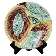 19th Century English Begonia Leaf Majolica Plate
