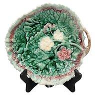 Antique Dogwood Blossom Leaf Majolica Plate/Platter