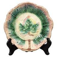 Antique Majolica Grape Leaf Dessert Bowl