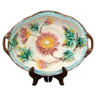 Antique Samuel Lear Dahlia Majolica Serving Tray or Platter